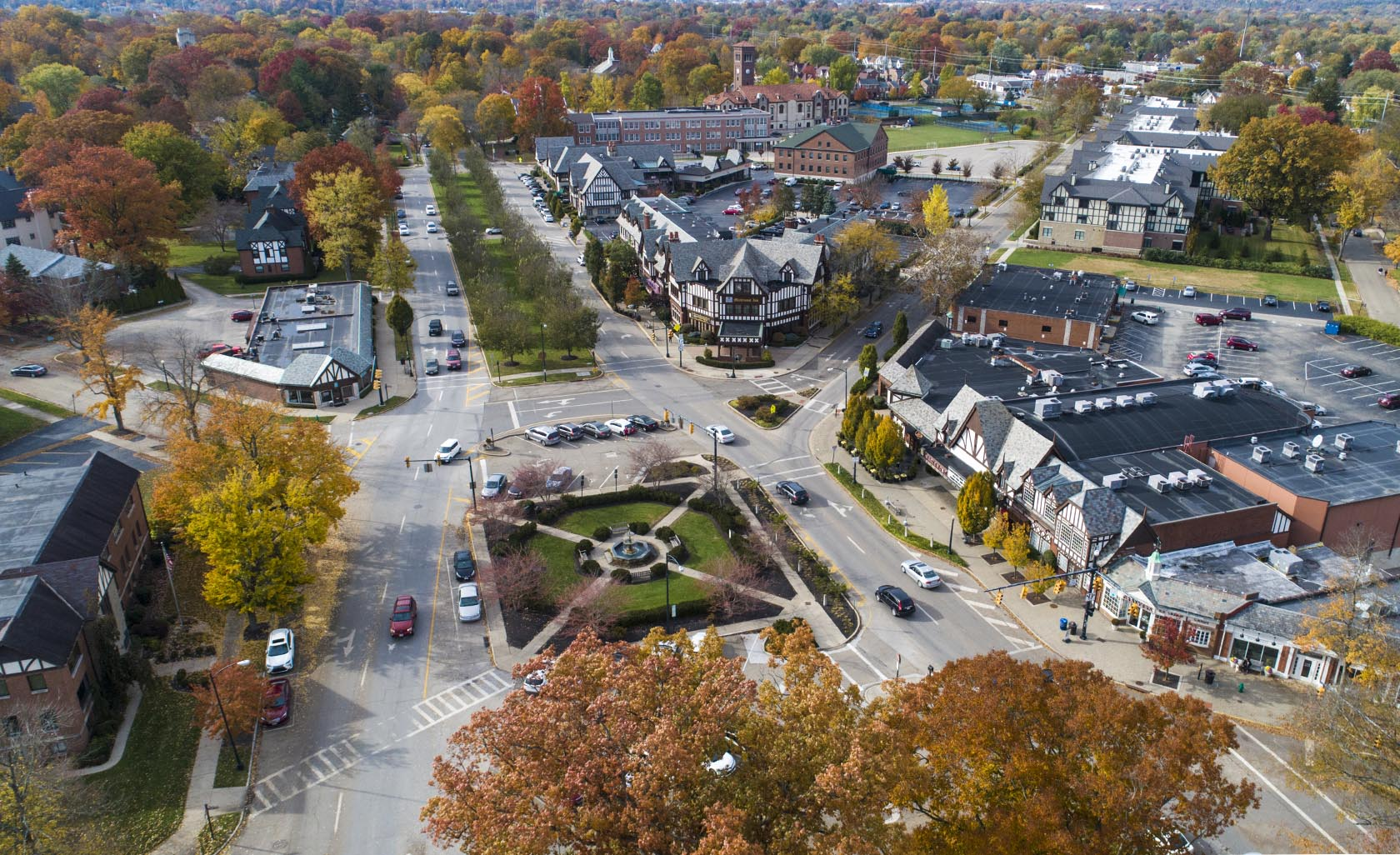 aerial view of the historic village of mariemont